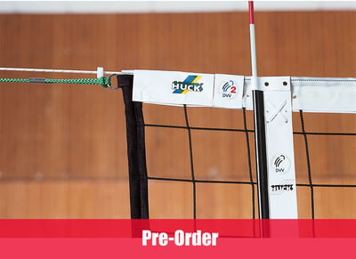Volleyball tournament net in Polypropylene 3 mm dia. with Kevlar cable, 4-point suspension