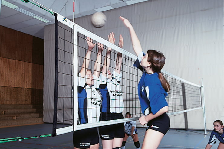 Volleyball tournament net in Polypropylene 3 mm dia. with Steel cable, 4-point suspension